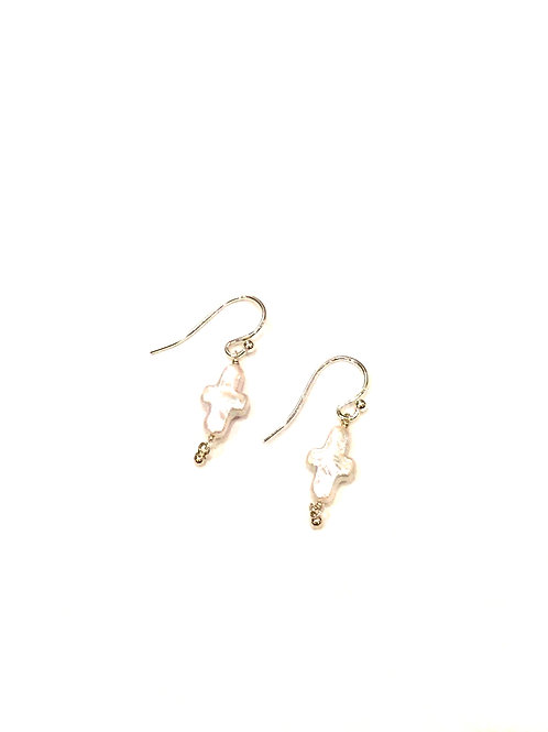 Chan Luu Earrings with Cross-Shape Fresh Water Pearl Drop