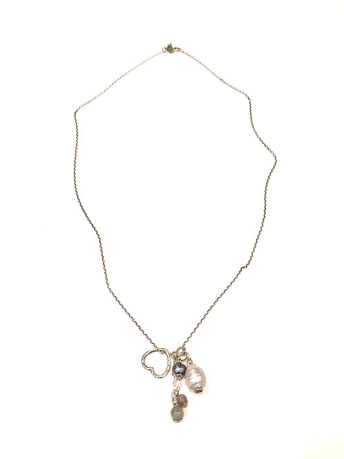 Pam Lazzorato Long Chain Necklace with Multi Stone and Pearl Charm