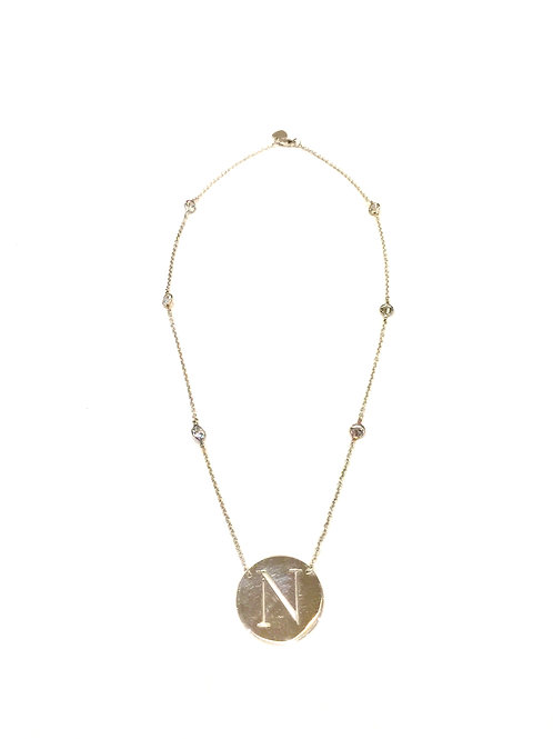 "Jane Basch Design - 1"" Disc Initial Necklace"