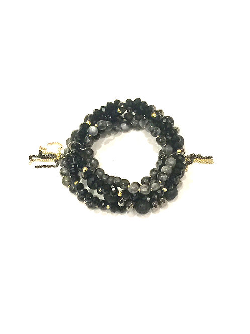 Nakamol Stretch Black and Grey Bead Mix Bracelet Tassel Detail
