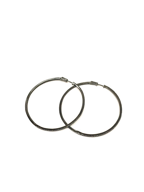 Marcia Moran Gunmetal Plated Sterling Silver Hoop Earrings