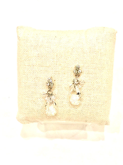 Yolanta Designs Silver with Clear Crystal Cluster and Drop Earring