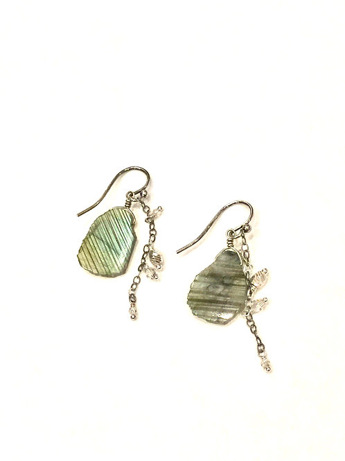 Chan Luu Earrings with Green Semi Precious Stone and Silver Chain Tiny Charms