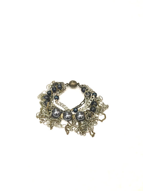Nakamol Magnetic Clasp Bracelet with Silver Chain and Gray Pearl Mix