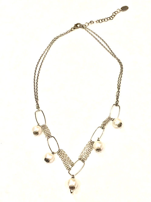 Pam Lazzorato Short Sterling Silver 5 Drop Pearl Necklace