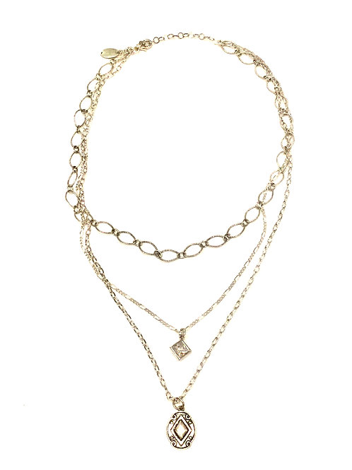 Pam Lazzorato Short Sterling Silver 3 Strand Chain Necklace with Crystal Charm