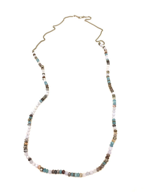 Chan Luu Long Chain Necklace with Semi Precious Stones