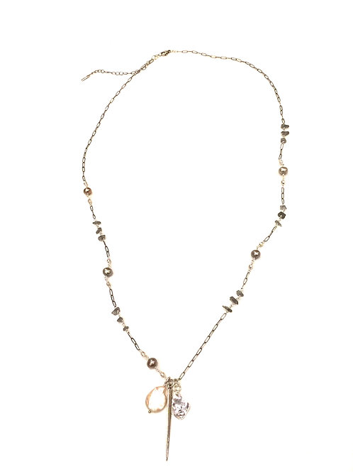 Chan Luu Short Adjustable Necklace with Labradorite and Gray Pearl