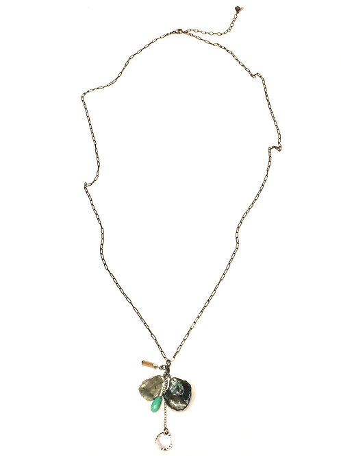 Chan Luu Long Antique Necklace with Multi Semi Precious Stone Charms