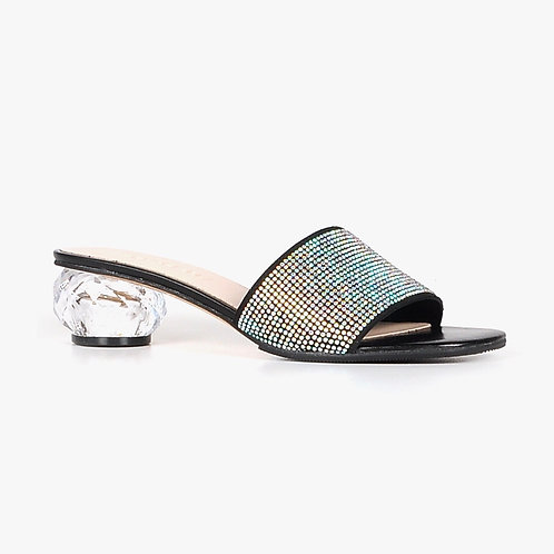 All Black Low Heeled Clear Crystal Sandal with Crystal Ball Heel