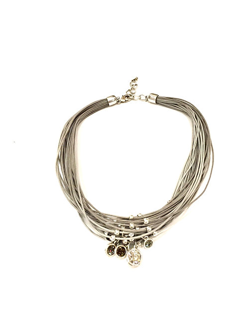 Escape from Paris Multi Strand Cord Gray Necklace with Multi Crystal Drops
