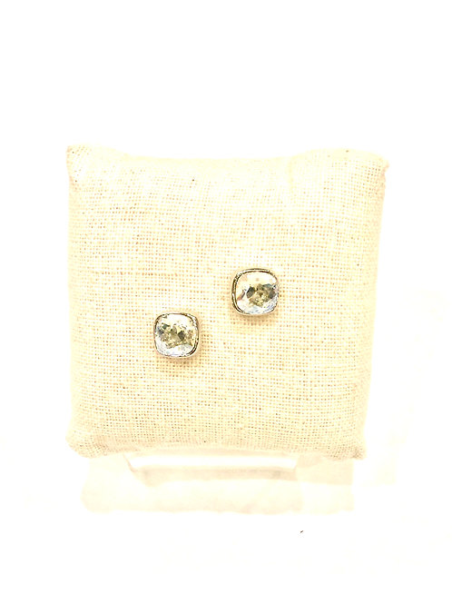Yolanta Designs Gunmetal with Silver Night Swarovski Crystal Stud Earring