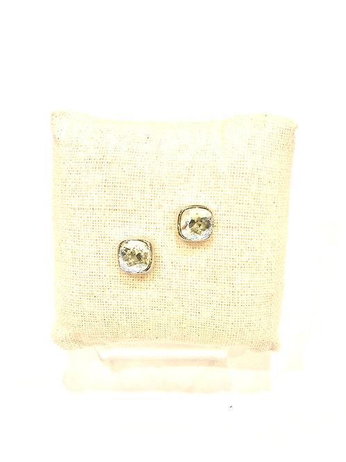 Yolanta Designs Silver with Moonlight Swarovski Crystal Stud Earring