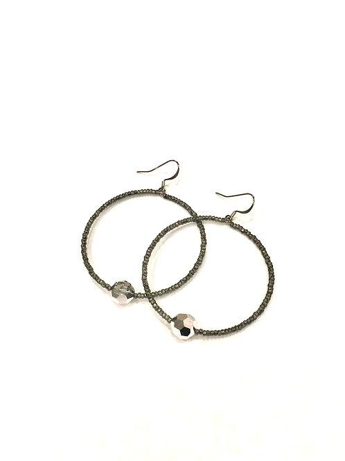 Chan Luu Grey Bead and Silver Crystal Wire Hoop Earrings