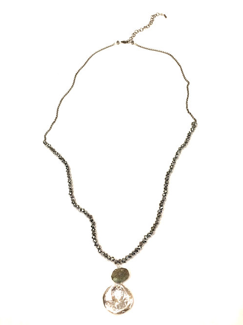 Chan Luu Long Necklace with Silver Crystals, Labradorite and Silver Drop