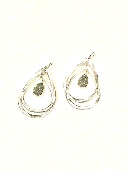Marcia Moran Rhodium Plated with Titanium Druzy Double Drop Earrings