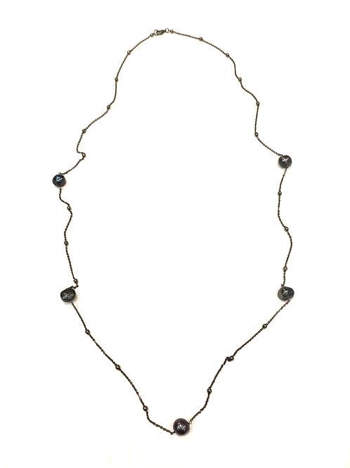 Chan Luu Long Gunmetal Chain with Black Pearl and Beads