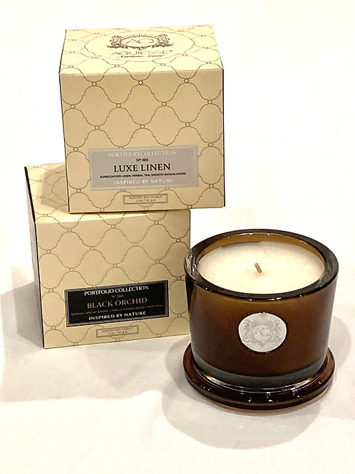 Aquiesse Luxe Linen and Black Orchid Scented Soy Candles