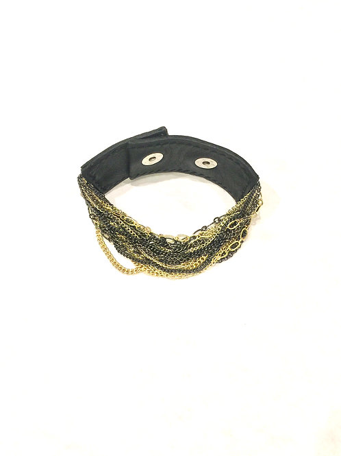 Nakamol Adjustable Leather Strap Gold/Gunmetal Chain Bracelet
