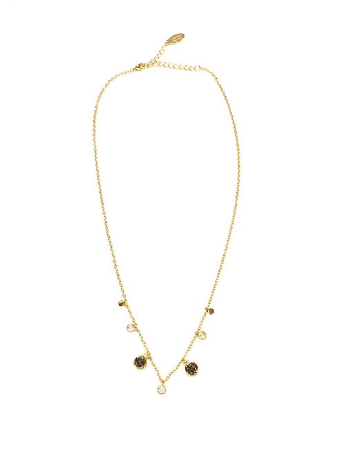 Marcia Moran 18kt Gold Plated Necklace with Tiny Round Charms and Titanium Druzy