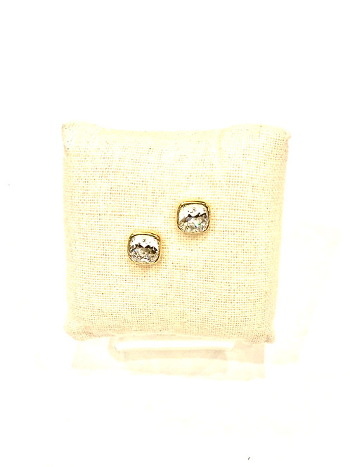 Yolanta Designs Gold with Clear Swarovski Crystal Stud Earring