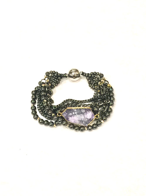 Nakamol Magnetic Clasp Bracelet with Gunmetal Chain, Breads and Lavender Druzy