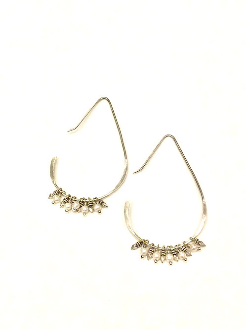 Chan Luu Earrings with Tiny Fresh Water Pearls and Silver Charms