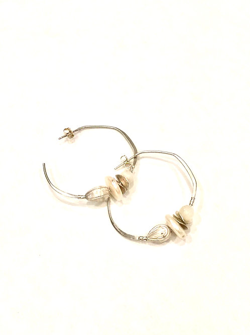Chan Luu Sterling Silver Post Hoop Earrings with White Pearl Mix