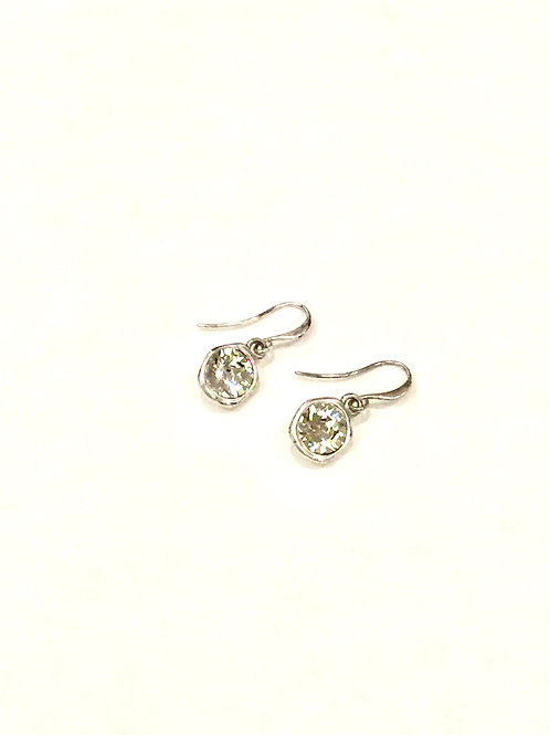 Escape from Paris Silver Metal and Clear Crystal Wire Drop Earring