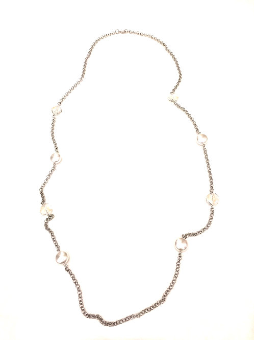 Pam Lazzorato Long Sterling Silver Crystal and Flat Pearl Necklace