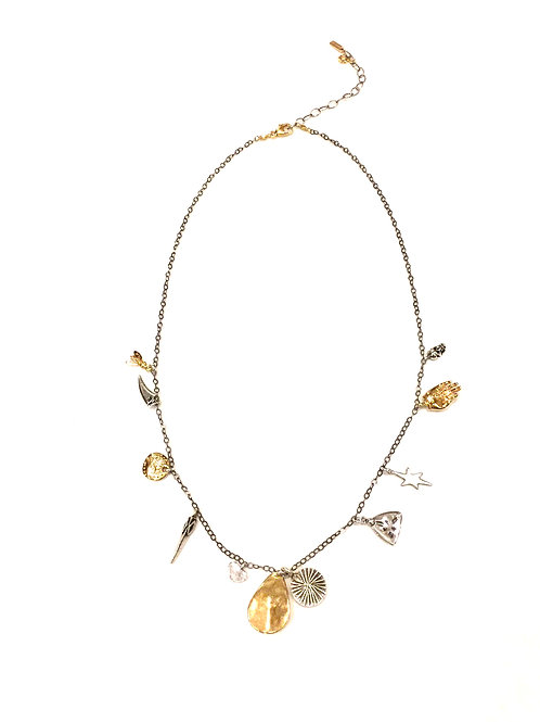 Chan Luu Short Chain with 18kt Gold Plated with Silver Charms