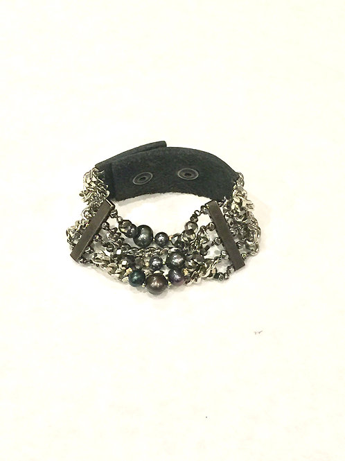 Nakamol Adjustable Leather Strap Bracelet Silver Chain and Gray Pearl Mix