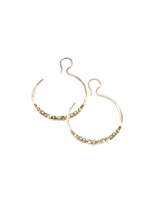 Chan Luu Hoop Earrings with Silver Mix Beads
