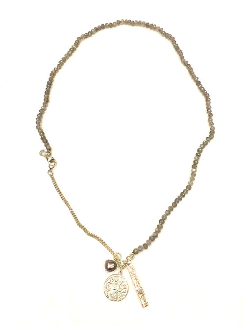Chan Luu Short Necklace with Mystic Lab Stones and Pearl and Silver Charms