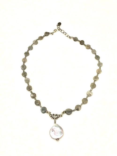 Pam Lazzorato Short Labradorite Necklace with Baroque Pearl Drop