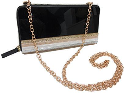 Sondra Roberts Black Resin Zip Clutch Wallet Combo