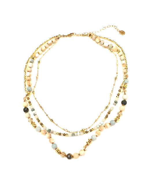 Chan Luu Triple Chain with Semi Precious Stones