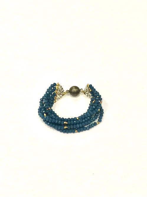 Nakamol Magnetic Clasp Bracelet with Gray Mix Beads