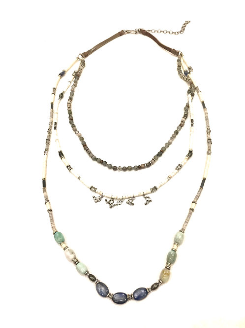 Chan Luu Triple Strand with Leather and Grey, Green and Blue Mix Stones