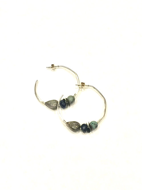 Chan Luu Sterling Silver Hoop Earring with Sodalite Mix Stones
