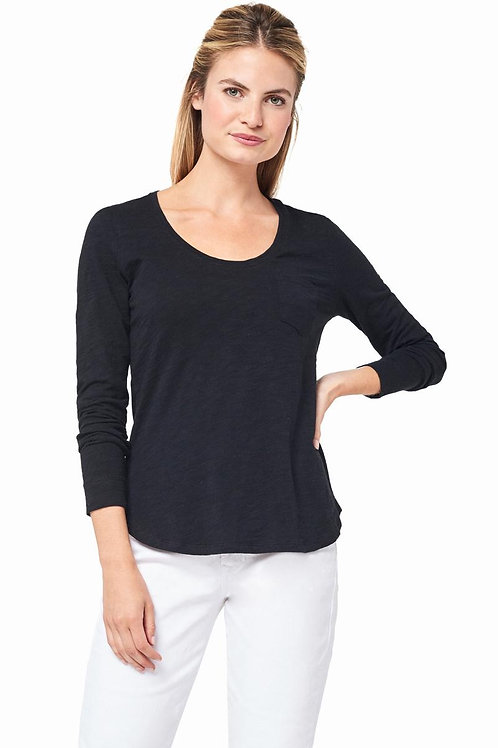 Lilla P Long Sleeve Scoop Neck in Black