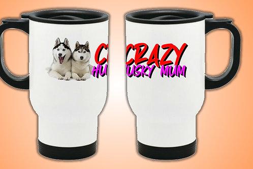 Crazy Husky Mum Travel Mug