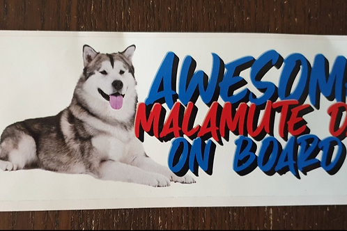 Awesome Malamute Dad On Board External Car Sticker