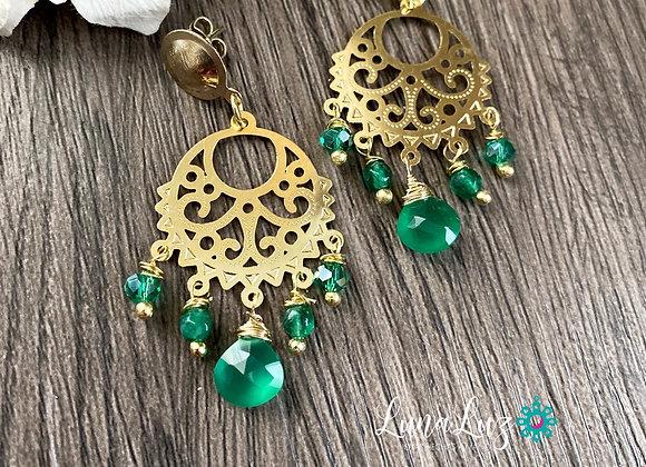 Aros mandala Enchape de Oro 18k en piedras Onix verde, Agatas, cristales