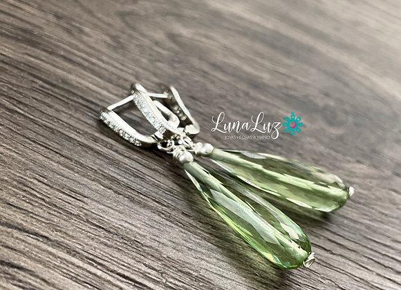 Aros Enchape de Plata 950 con circones y gotas alargadas en bellos Cristales