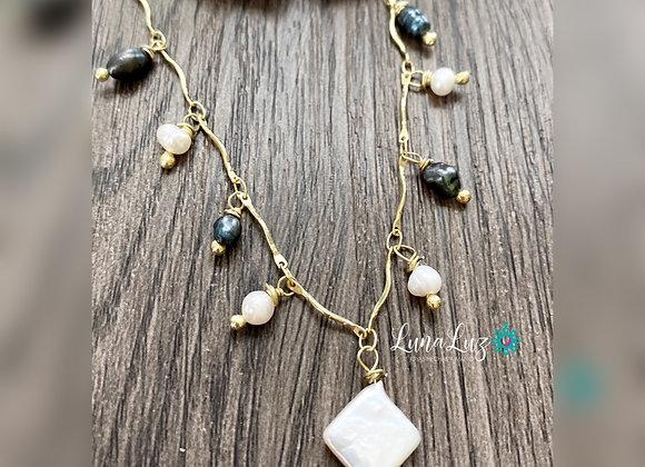 Collar 45 cms Enchapado en Oro 18k en Perlas Naturales