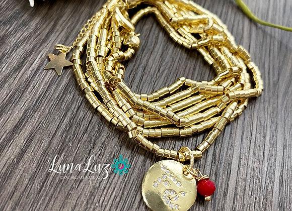 Mostacilla 1 metro 20cms, Enchape de Oro 18k . Medalla FE circones y cristal