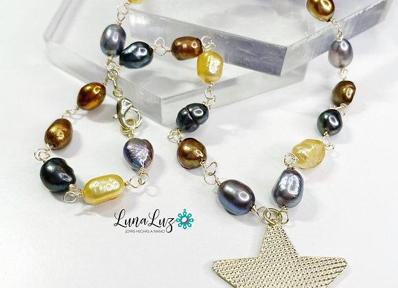 Collar perlas naturales esmaltadas 40 cms Enchapado en Oro de 18k