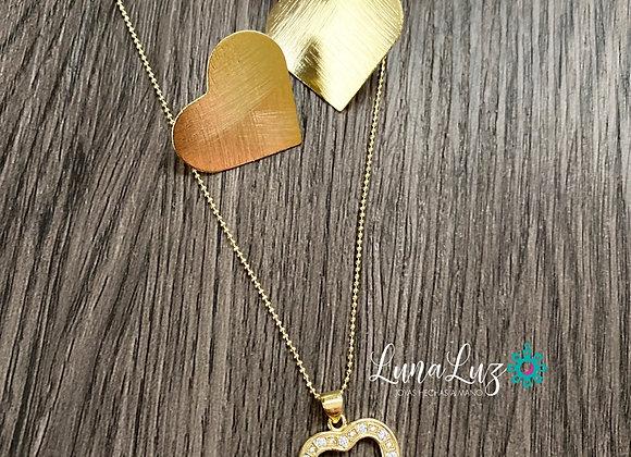 Conjunto (Aros y Cadena 45 cms) Corazón Enchape de Oro 18k