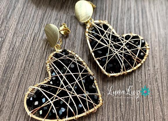 Aros Enchape de Oro 18k tejidos en bellos cristales negros